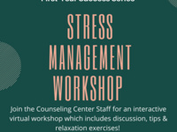Join the counseling center staff for an interactive, virtual stress management workshop. No registration required, Zoom link to workshop will be sent via email.
