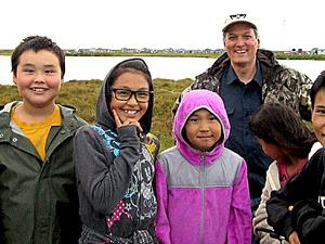 Donald Antrobus with children in Denali.