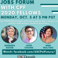 Jobs Forum with CPF 2020 Fellows for USC Students