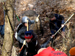 Students clearing the Bell Trail