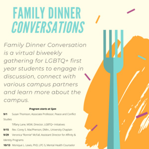 """LGBTQ+ Family Dinner:  """"It's ok to ask for help: LGBTQ+ and mental health"""""""