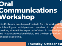 Oral Communications Workshop: First Year Success Series 10/1 via Zoom 6-7 PM