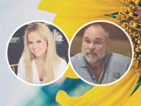Images of Katie Dixon (left) and Robert St. John (right) are enclosed in circles with a background of a yellow sunflower