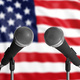 American flag with two mics