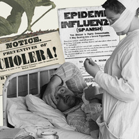 Images of past pandemics such as Spanish flu and Cholera