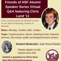Friends of HSF Alumni Speaker Series Virtual Q&A featuring Chris Land '11