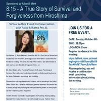 Virtual Author Event: 8:15 - A True Story of Survival and Forgiveness from Hiroshima