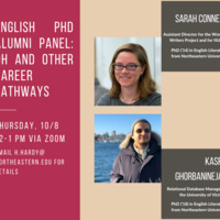 Flyer featuring headshots of the panelists and a description of their current roles