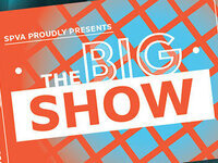 Orange, blue and white colored ticket featuring the words The Big Show.
