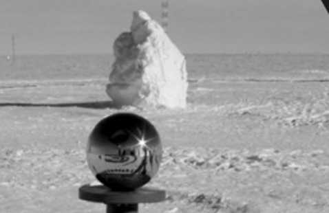 black and white image of the South Pole