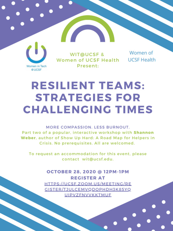 Oct 28, 2020: Resilient Teams: Strategies for Challenging Times - Interactive Workshop