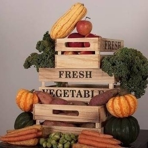 Crate with fruits and vegetables