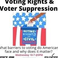 "Illustration: A person's arm places a ballot into a box that reads ""voting rights are civil rights"" with the American flag in the background.  Text includes: Voting Rights & Voter Suppression.. What barriers to voting do Americans face, and why does it matter? Wednesday, 10/7 at 5 p.m."