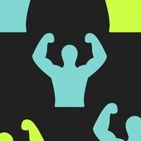 Silhouette of person raising their arms to show off muscles.