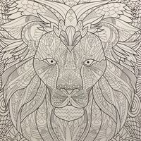Coloring page of a lion head