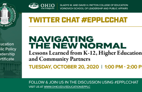 """Flier for the Oct. 20, 2020 EPPLC Twitter Chat """"Navigating the New Normal"""""""