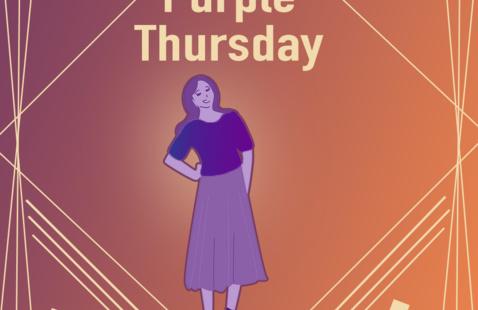 Woman wearing purple for #PurpleThursday