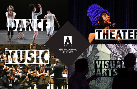 Collage image showing dance, music, theater, visual arts