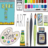 Illustration of art supplies