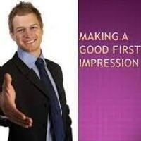 Man extending hand to shake hands. Words next to the picture: Making a Good First Impression