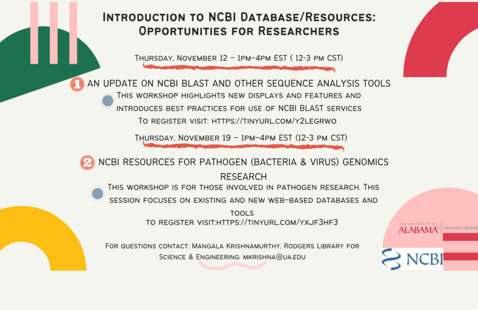 Introduction to NCBI Database/Resources: 2 Workshop Opportunities for Researchers
