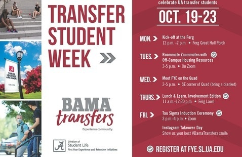 Schedule of Events for Bama Transfer Week 2020