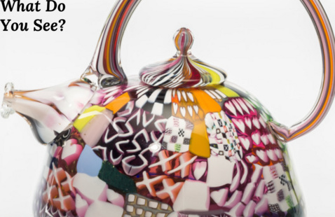 """Richard Marquis, """"Crazy Quilt Teapot,"""" 1979. blown and fused glass mosaic, 4 1/2 x 5 1/4 x 5 in. Promised gift of Myrna and Sheldon Palley, IL2008.13.24. © 1979 Richard Marquis"""