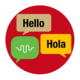 Circle with speech bubble saying hello in English and in Spanish