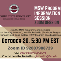 MSW Program Information Session October 20 at 5:30 pm Eastern Standard Time. Zoom ID 92007988729