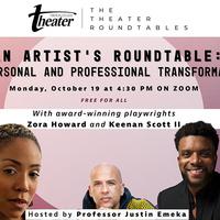 flyer for artist's roundtable.