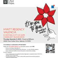 City of Hope SCV Patients Need Your Help & Support at our SCV Community Blood Drive!