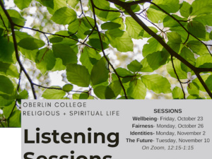 virtual listening session flyer with green trees.