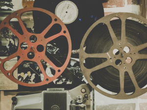 photo collage of film reels