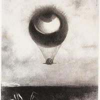 Odilon Redon, L'oeil, comme un ballon bizarre se dirige vers l'infini (The Eye Like a Strange Balloon Moves Toward Infinity), 1882. Gift of Murray S. Danforth, Jr.