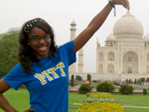 Student in front of the Taj Mahal