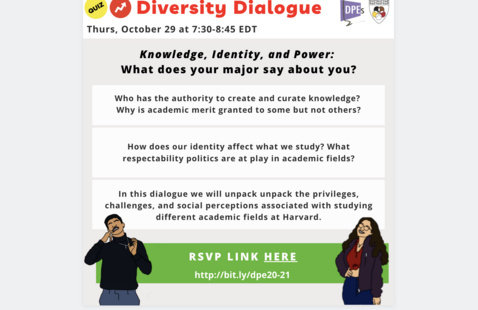 "Diversity Dialogue flyer with a Buzzfeed theme on ""Knowledge, Identity, and Power: What does your major say about you?"" with RSVP link and DPE and Harvard Foundation Logo"