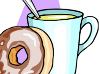 Clip art of coffee cup with spoon and donut