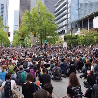Protesters stage a sit-in at Seattle City Hall, June 3, 2020. CREDIT: SounderBruce (CC).