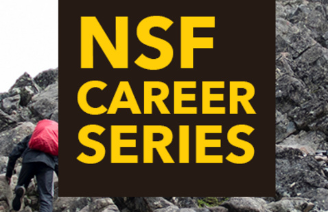 "Image of climbing a summit with ""NSF CAREER Series"" in a centered square."