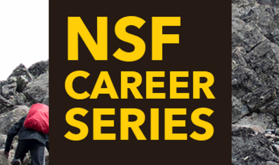 """Image of climbing a summit with """"NSF CAREER Series"""" in a centered square."""