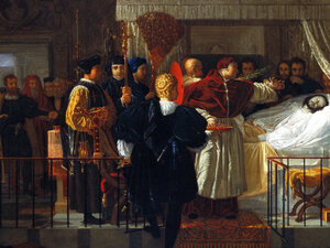painting of men surrounding a bed with a sick person lying in it.