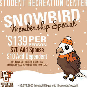 Snowbird Membership Special on sale now at the Student Recreation Center