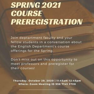 English Department Spring 2021 Course Preregistration