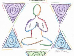 Jewish star in pastel purple, blue, and green, containing a sketch of a person in lotus pose