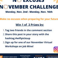 Career Center's No Excuses November Contest