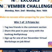 Career Center's No Excuses November Contest