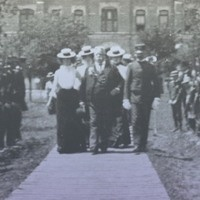 Texas Guards being reviewed by Gen. Fitzhugh Lee and Col. Alexander Easley in front of the Main Building on TCU's Waco campus around 1899. Photo: TCU Special Collections