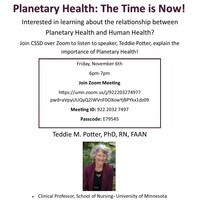 Planetary Health:  The Time is Now!