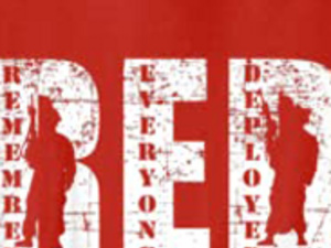 Close-up of Red Out T-shirt logo