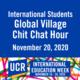 International Students Chit Chat Hour - International Education Week November 16-20, 2020
